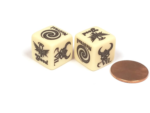 Alignment Custom Engraved 16mm D6 Chessex Dice, 2 Pieces - Good Evil Neutral