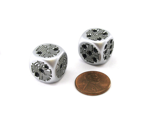 Pack of 2 Circuit Design D6 Dice with Thin Metal-Plating Over Plastic - Aluminum