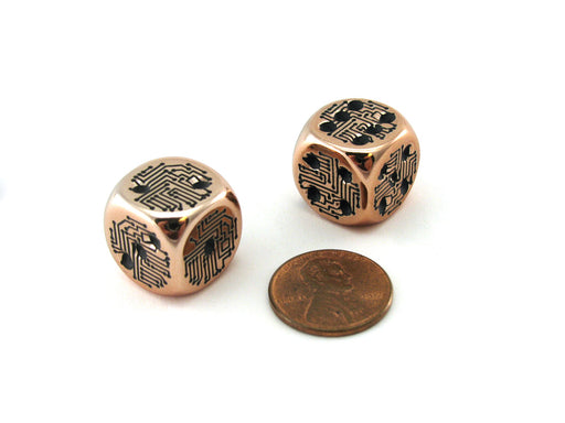 Pack of 2 Circuit Design D6 Dice with Thin Metal-Plating Over Plastic - Copper