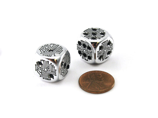 Pack of 2 Circuit Design D6 Dice with Thin Metal-Plating Over Plastic - Silver