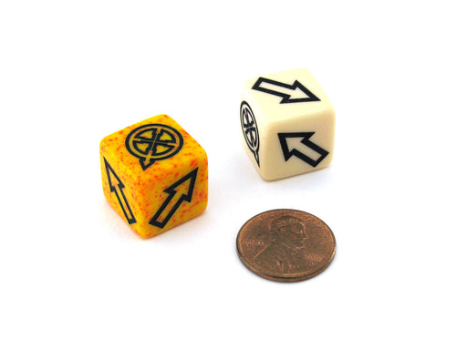 Pack of 2 Custom Scatter Dice with Directional Arrows and Symbols (Styles Vary)