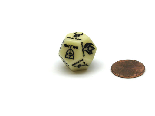 Custom Engraved 19mm D12 RPG D&D Dice - 5th Edition Class Ivory with Black Die