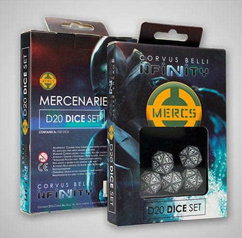 Infinity Mercenaries D20 19mm Dice, 5 Pieces - Gray with White Numbers