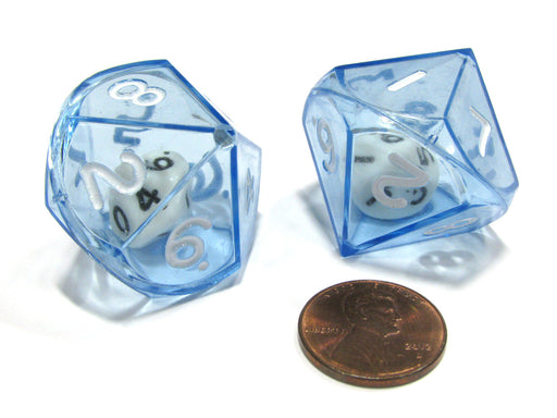 Set of 2 D10 26mm Double Dice, 2-In-1 Dice - White Inside Translucent Blue Die