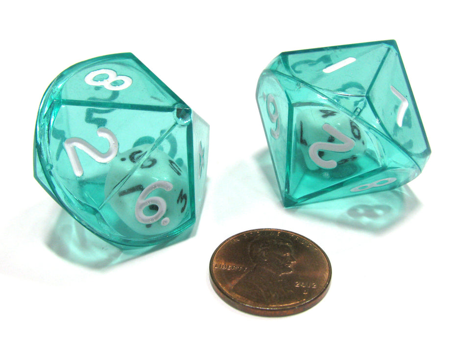 Set of 2 D10 26mm Double Dice, 2-In-1 Dice - White Inside Translucent Green Die