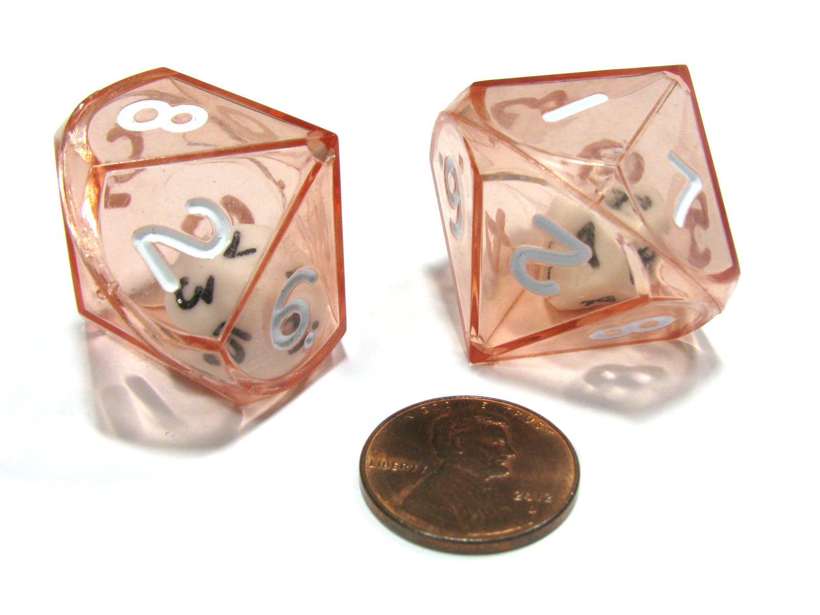Set of 2 D10 26mm Double Dice, 2-In-1 Dice - White Inside Translucent Red Die