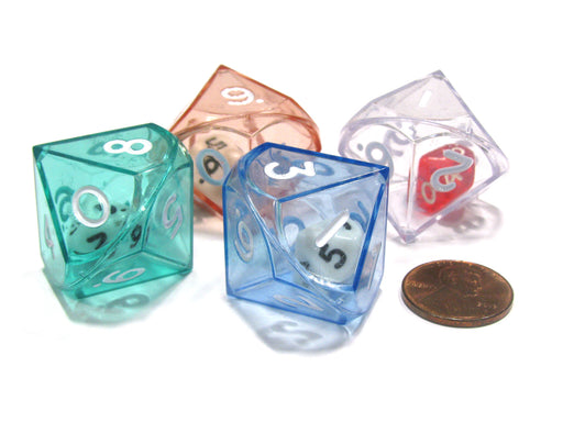 Set of 4 D10 26mm Double Dice, 2-In-1 Dice - 1 Each of Green Red Blue Clear