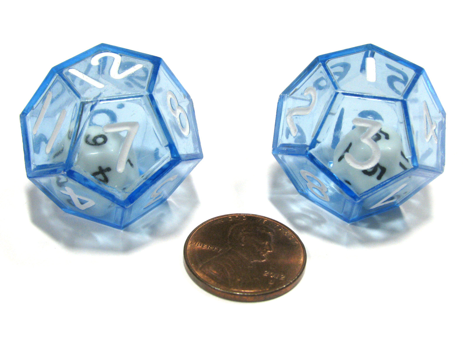 Set of 2 D12 25mm Double Dice, 2-In-1 Dice - White Inside Translucent Blue Die