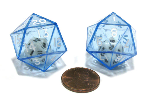 Set of 2 D20 24mm Double Dice, 2-In-1 Dice - White Inside Translucent Blue Die