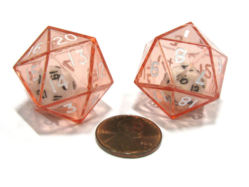 Set of 2 D20 24mm Double Dice, 2-In-1 Dice - White Inside Translucent Red Die