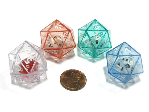 Set of 4 D20 24mm Double Dice, 2-In-1 Dice - 1 Each of Green Red Blue Clear