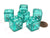 Set of 6 D6 19mm Double Dice, 2-In-1 Dice - White Inside Translucent Green Die