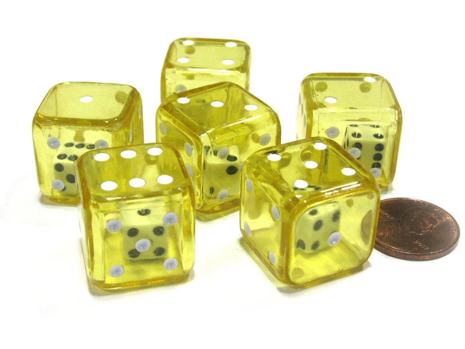 Set of 6 D6 19mm Double Dice, 2-In-1 Dice - White Inside Translucent Yellow Die