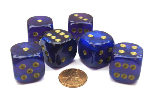 Borealis 20mm Big D6 Chessex Dice, 6 Pieces - Royal Purple with Gold Pips