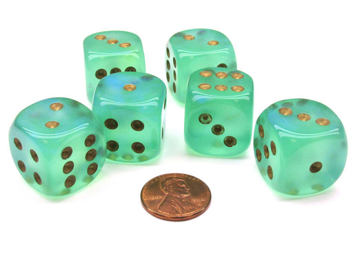 Borealis 20mm Big D6 Chessex Dice, 6 Pieces - Light Green with Gold Pips