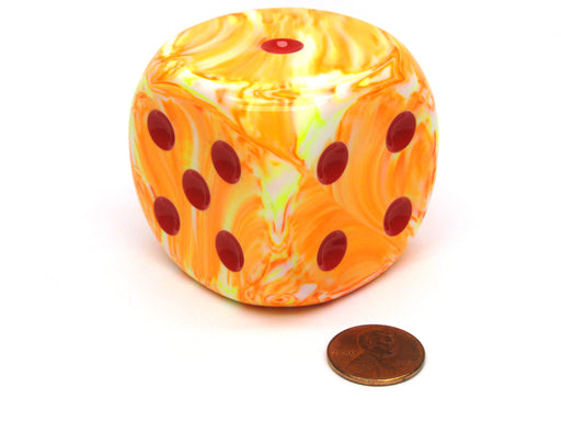 Festive 50mm Huge Large D6 Chessex Dice, 1 Piece -  Sunburst with Red Pips