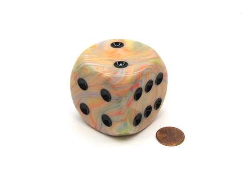 Festive 50mm Huge Large D6 Chessex Dice, 1 Piece - Circus with Black Pips