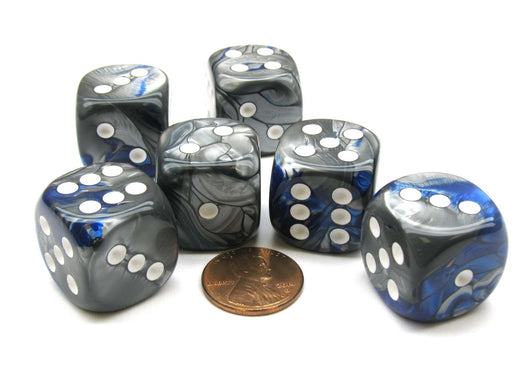 Gemini 20mm Big D6 Chessex Dice, 6 Pieces - Blue-Steel with White Pips