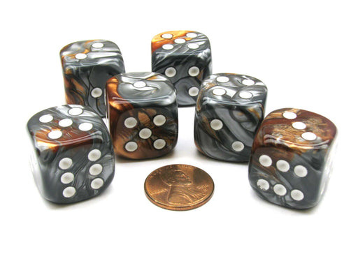Gemini 20mm Big D6 Chessex Dice, 6 Pieces - Copper-Steel with White Pips