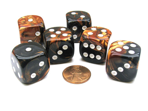 Gemini 20mm Big D6 Chessex Dice, 6 Pieces - Black-Copper with White Pips