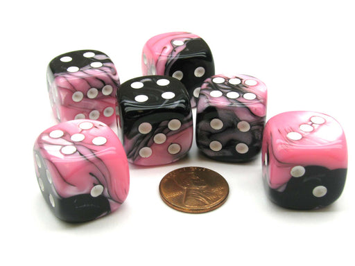 Gemini 20mm Big D6 Chessex Dice, 6 Pieces - Black-Pink with White Pips