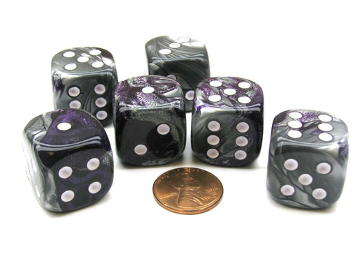 Gemini 20mm Big D6 Chessex Dice, 6 Pieces - Purple-Steel with White Pips