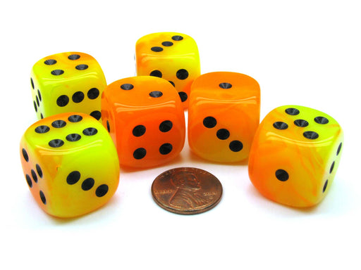 Gemini 20mm Big D6 Chessex Dice, 6 Pieces - Orange-Yellow with Black Pips