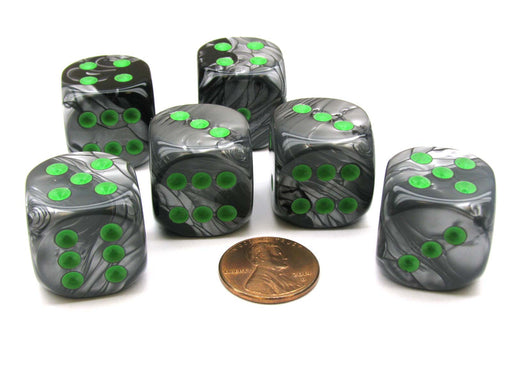 Gemini 20mm Big D6 Chessex Dice, 6 Pieces - Black-Grey with Green Pips