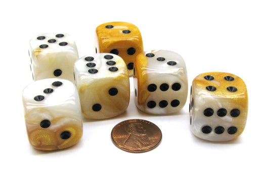 Gemini 20mm Big D6 Chessex Dice, 6 Pieces - Gold-White with Black Pips