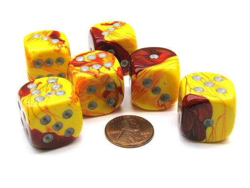 Gemini 20mm Big D6 Chessex Dice, 6 Pieces - Red-Yellow with Silver Pips