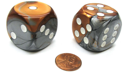 Gemini 30mm Large D6 Chessex Dice, 2 Pieces - Copper-Steel with White Pips