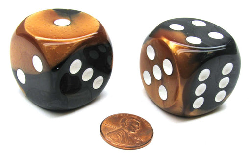 Gemini 30mm Large D6 Chessex Dice, 2 Pieces - Black-Copper with White Pips