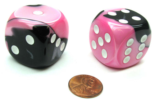 Gemini 30mm Large D6 Chessex Dice, 2 Pieces - Black-Pink with White Pips
