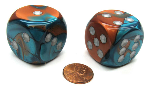 Gemini 30mm Large D6 Chessex Dice, 2 Pieces - Copper-Teal with Silver Pips