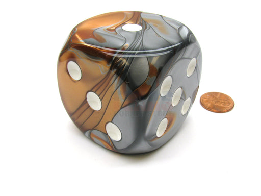 Gemini 50mm Huge Large D6 Chessex Dice, 1 Piece - Copper-Steel with White Pips