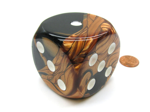 Gemini 50mm Huge Large D6 Chessex Dice, 1 Piece - Black-Copper with White Pips