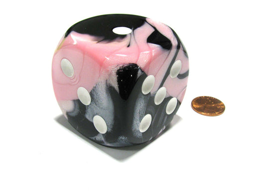 Gemini 50mm Huge Large D6 Chessex Dice, 1 Piece - Black-Pink with White Pips