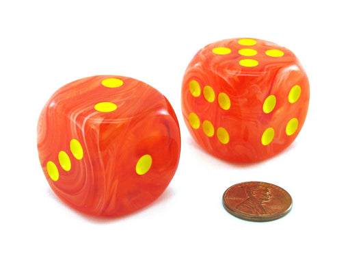 Ghostly 30mm Large D6 Chessex Dice, 2 Pieces - Orange with Yellow Pips