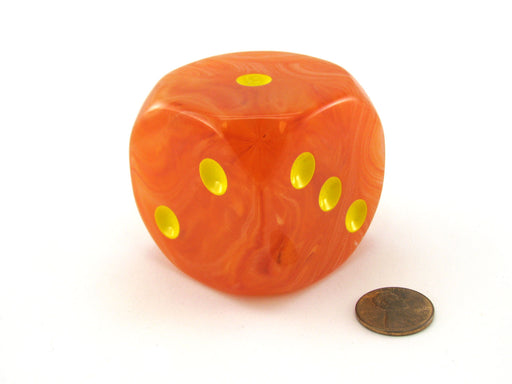 Ghostly Glow 50mm Huge Large D6 Chessex Dice, 1 Piece - Orange with Yellow Pips
