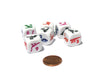 Set of 6 Dino Dice 16mm D6 Round Edge - White with Multi-Color Etched Dinosaurs