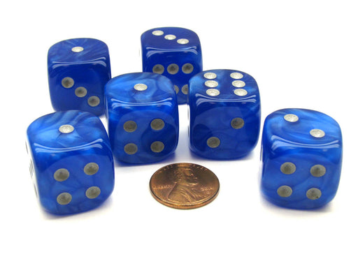Velvet 20mm Big D6 Chessex Dice, 6 Pieces - Blue with Silver Pips