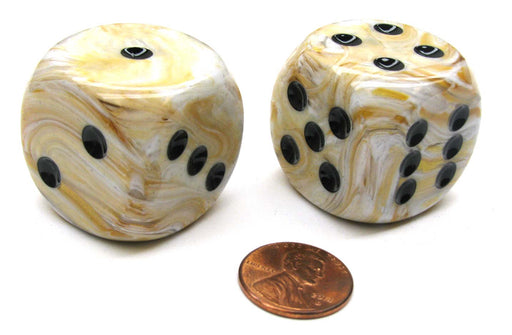 Marble 30mm Large D6 Chessex Dice, 2 Pieces - Ivory with Black Pips
