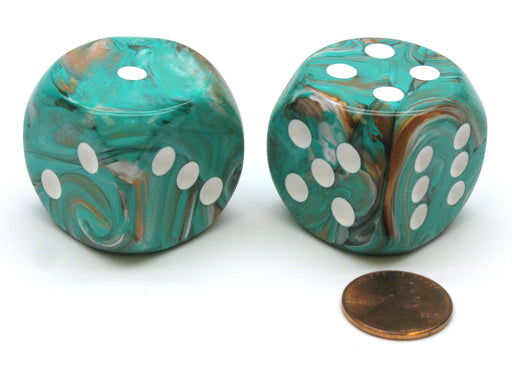 Marble 30mm Large D6 Chessex Dice, 2 Pieces - Oxi-Copper with White Pips