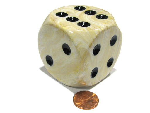 Marble 50mm Huge Large D6 Chessex Dice, 1 Piece - Ivory with Black Pips