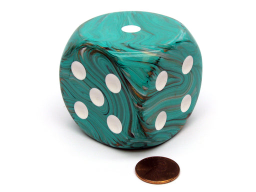 Marble 50mm Huge Large D6 Chessex Dice, 1 Piece - Oxi-Copper with White Pips