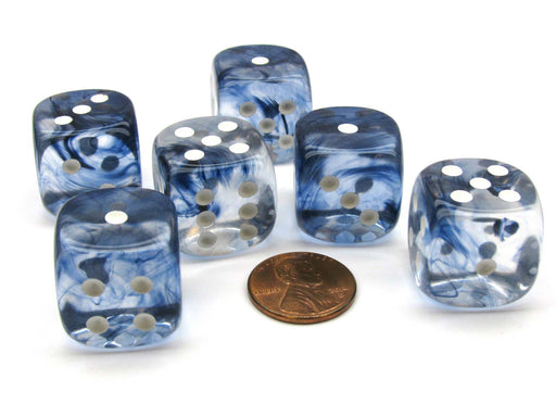 Nebula 20mm Big D6 Chessex Dice, 6 Pieces - Black with White Pips