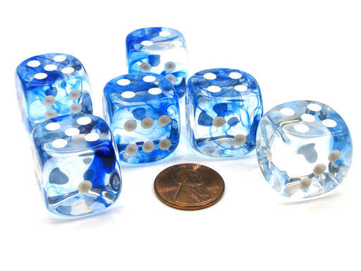 Nebula 20mm Big D6 Chessex Dice, 6 Pieces - Dark Blue with White Pips
