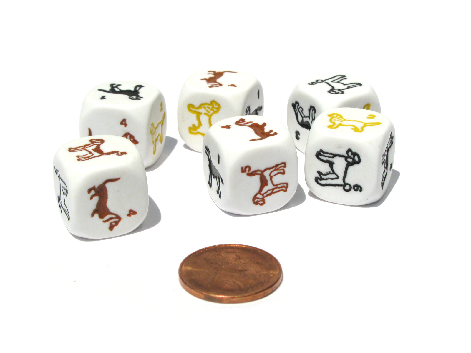 Set of 6 Dog Dice - 16mm D6 Round Edge - White with Multi-Color Etched Animals