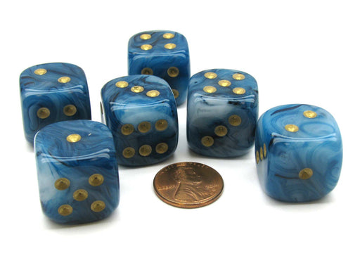 Phantom 20mm Big D6 Chessex Dice, 6 Pieces - Teal with Gold Pips