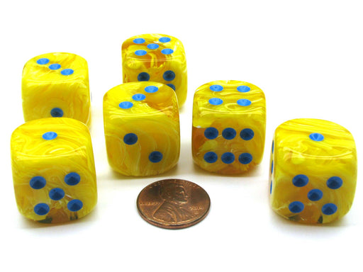 Vortex 20mm Big D6 Chessex Dice, 6 Pieces - Yellow with Blue Pips
